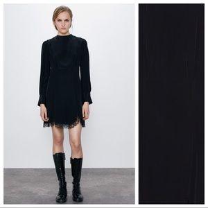 NWT. Zara Black Mini Draped Dress. Size M.